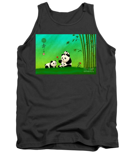 Longevity Panda Family Asian Art Tank Top by John Wills