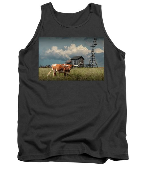 Longhorn Steer In A Prairie Pasture By Windmill And Old Gray Wooden Barn Tank Top