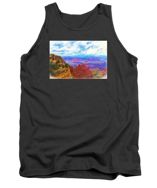 Tank Top featuring the digital art Lookout Studio Sketched by Kirt Tisdale