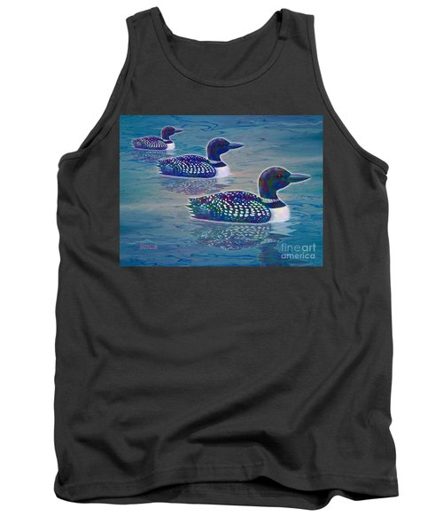 Tank Top featuring the painting Loon Lagoon by Teresa Ascone