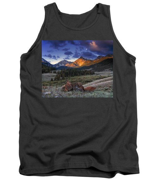 Lost River Mountains Moon Tank Top by Leland D Howard