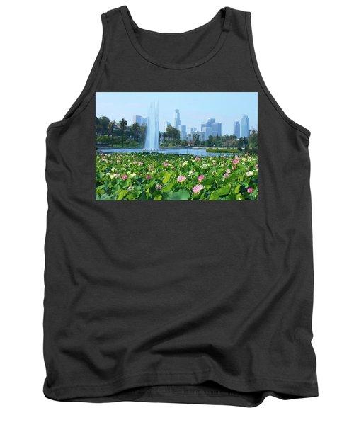 Lotus Blooms And Los Angeles Skyline Tank Top