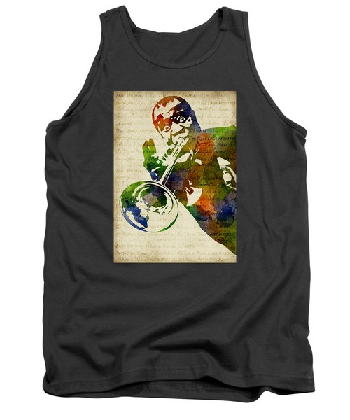 Louis Armstrong Watercolor Tank Top by Mihaela Pater