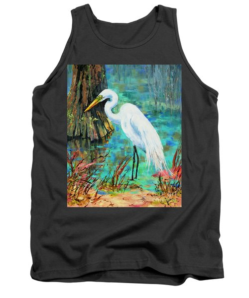 Tank Top featuring the painting Louisiana Male Egret by Dianne Parks