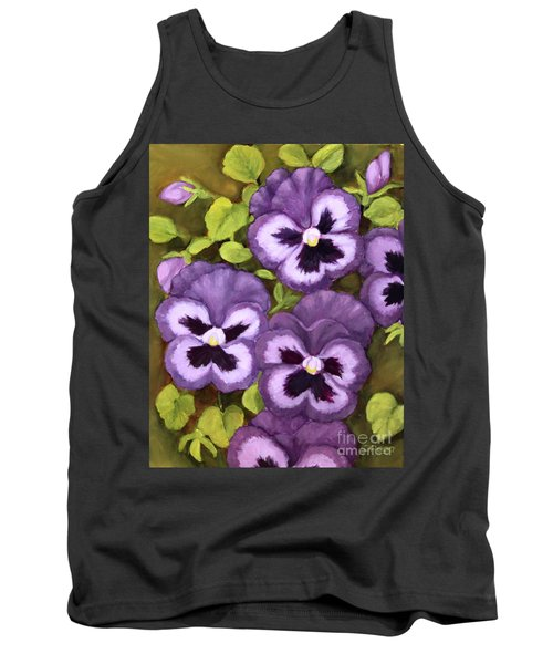 Lovely Purple Pansy Faces Tank Top by Inese Poga