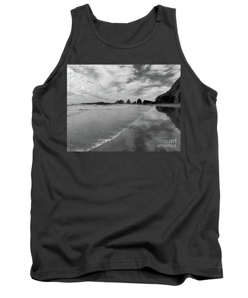 Low Tide - Black And White Tank Top by Scott Cameron