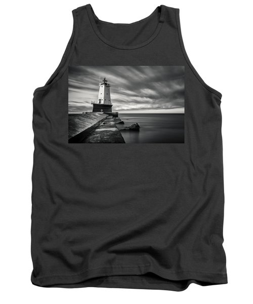 Tank Top featuring the photograph Ludington Light Black And White by Adam Romanowicz