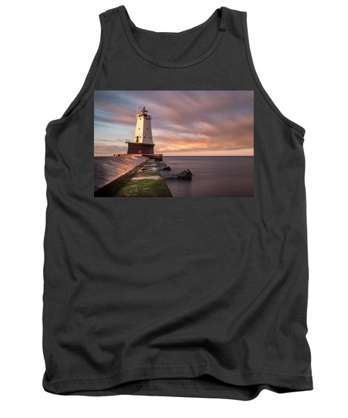Tank Top featuring the photograph Ludington Light Sunrise Long Exposure by Adam Romanowicz