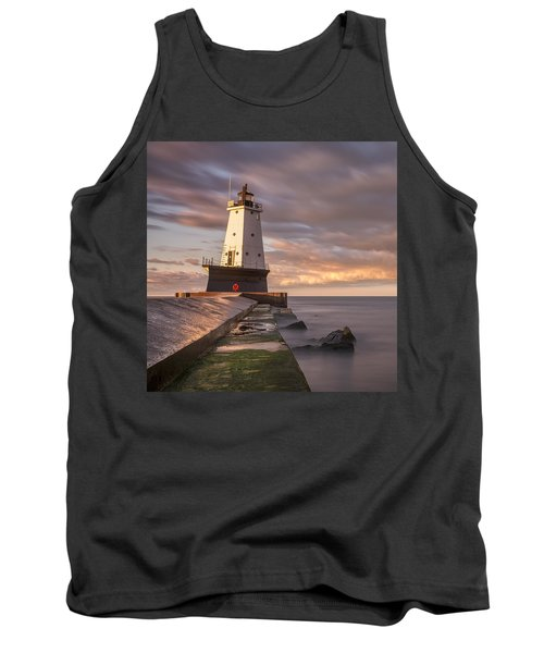 Tank Top featuring the photograph Ludington North Breakwater Light At Dawn by Adam Romanowicz