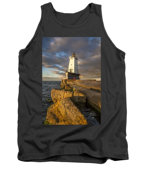 Tank Top featuring the photograph Ludington North Breakwater Lighthouse At Sunrise by Adam Romanowicz