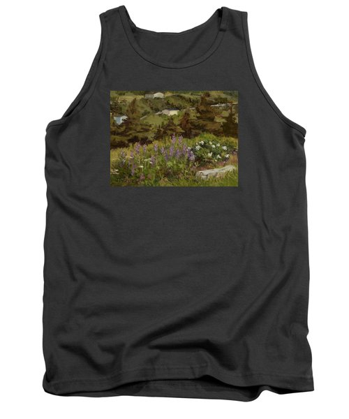 Lupine And Wild Roses Tank Top by Jane Thorpe