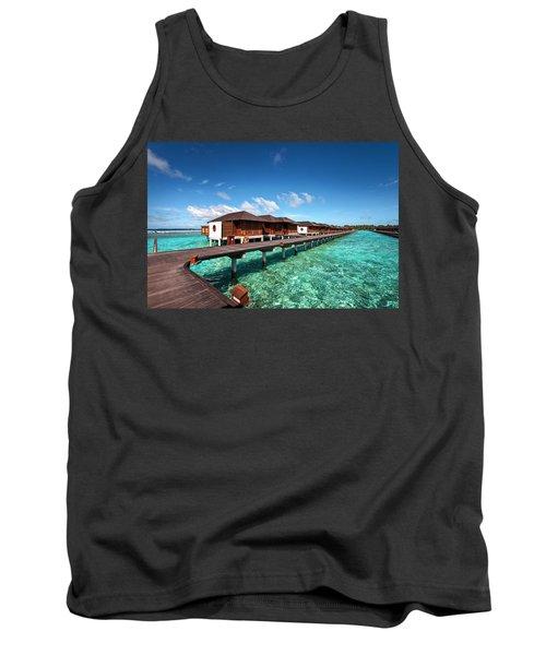 Tank Top featuring the photograph Luxury Water Villas Of Maldivian Resort by Jenny Rainbow