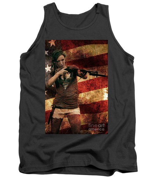 M1 Carbine On American Flag Tank Top