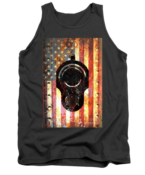 M1911 Colt 45 On Rusted American Flag Tank Top