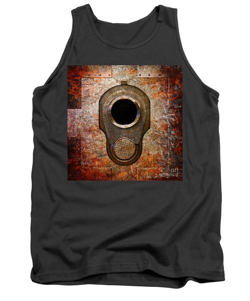M1911 Muzzle On Rusted Riveted Metal Tank Top