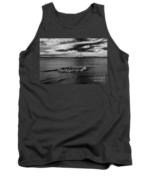 Mackinac Bridge - Infrared 03 Tank Top by Larry Carr