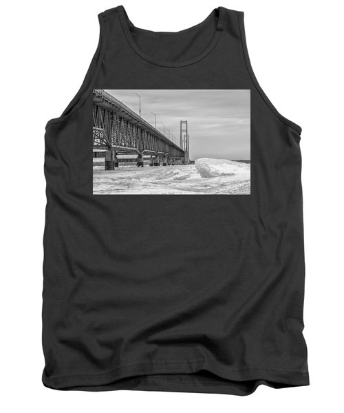 Tank Top featuring the photograph Mackinac Bridge Icy Black And White  by John McGraw