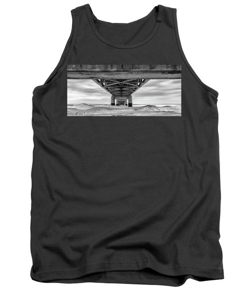 Tank Top featuring the photograph Mackinac Bridge In Winter Underneath  by John McGraw
