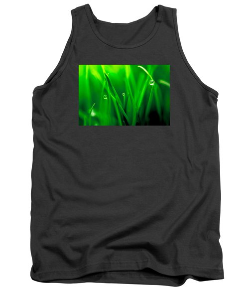 Macro Image Of Fresh Green Grass Tank Top by John Williams