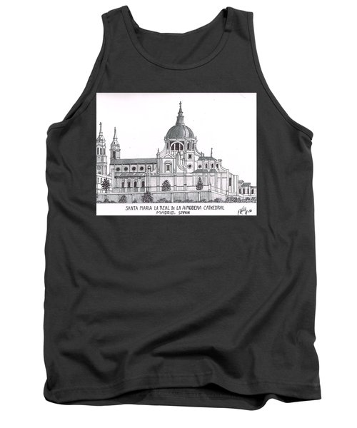 Tank Top featuring the drawing Madrid Cathedral Aimudena by Frederic Kohli