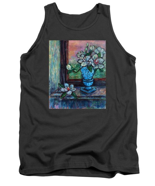 Magnolias In A Blue Vase By The Window Tank Top