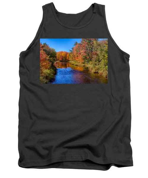Maine Brook In Afternoon With Fall Color Reflection Tank Top