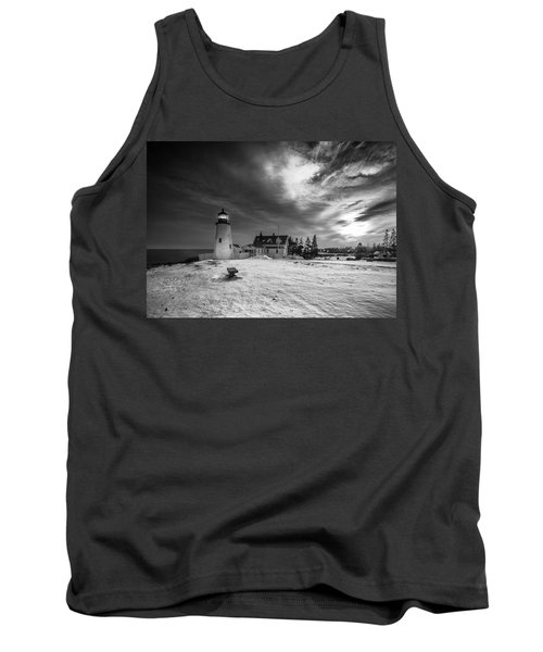 Tank Top featuring the photograph Maine Coastal Storm Over Pemaquid Lighthouse by Ranjay Mitra