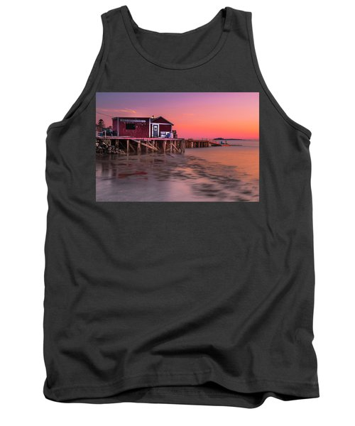 Tank Top featuring the photograph Maine Coastal Sunset At Dicks Lobsters - Crabs Shack by Ranjay Mitra