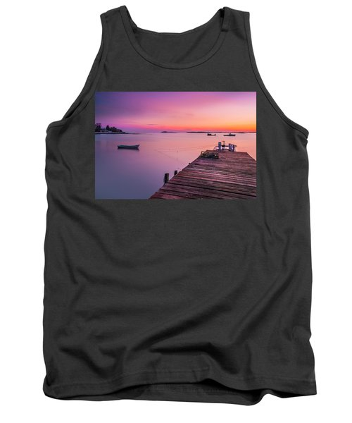 Tank Top featuring the photograph Maine Cooks Corner Lobster Shack At Sunset by Ranjay Mitra