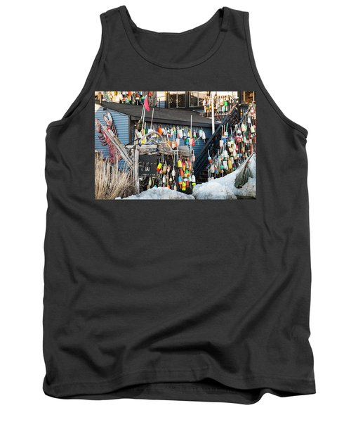 Tank Top featuring the photograph Maine Lobster Shack In Winter by Ranjay Mitra