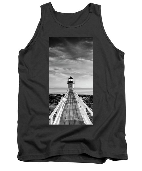 Maine Marshall Point Lighthouse Vertical Panorama In Black And White Tank Top