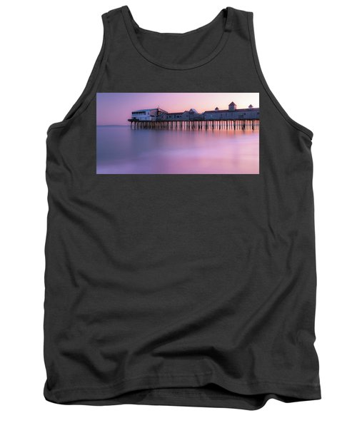 Maine Oob Pier At Sunset Panorama Tank Top by Ranjay Mitra