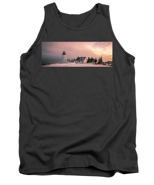 Maine Pemaquid Lighthouse After Winter Snow Storm Tank Top