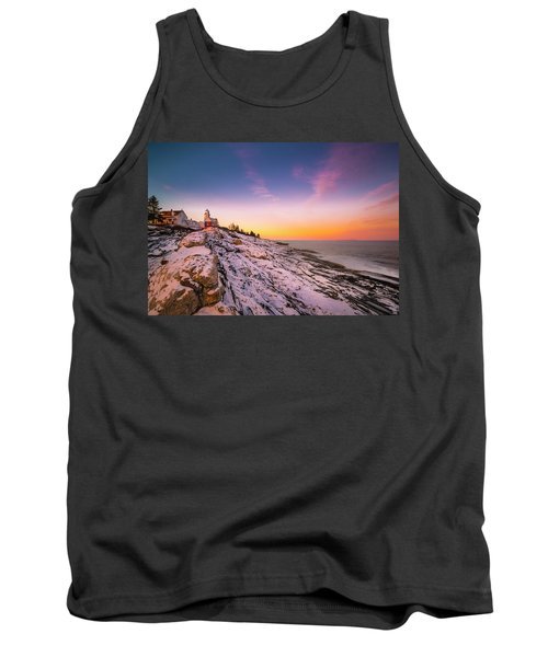 Tank Top featuring the photograph Maine Pemaquid Lighthouse In Winter Snow by Ranjay Mitra
