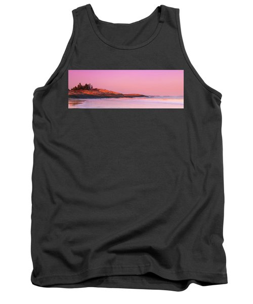 Maine Sheepscot River Bay With Cuckolds Lighthouse Sunset Panorama Tank Top
