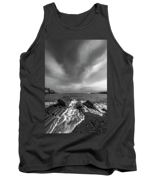 Maine Storm Clouds And Crashing Waves On Rocky Coast Tank Top by Ranjay Mitra
