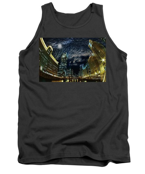 Majestic Chicago - Windy City Riverfront At Night Tank Top