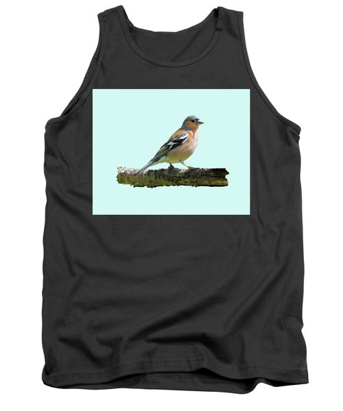 Male Chaffinch, Blue Background Tank Top by Paul Gulliver