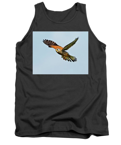 Tank Top featuring the photograph Male Kestrel In The Wind. by Paul Scoullar
