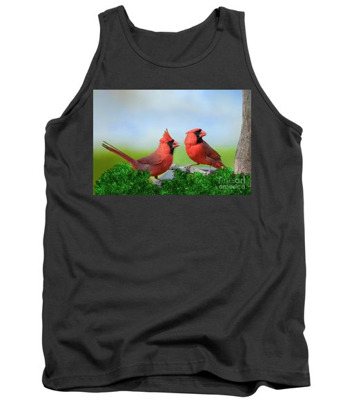 Tank Top featuring the photograph Male Northern Cardinals In Spring by Bonnie Barry