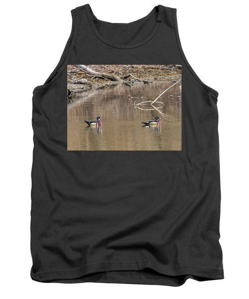 Tank Top featuring the photograph Male Wood Ducks by Edward Peterson