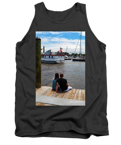 Man And Woman Sitting On Dock Tank Top