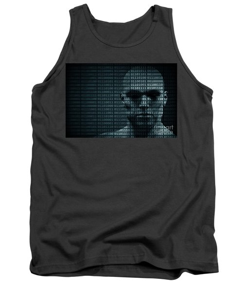 Man Face Blended With Binary Code Digits. Concept Of Hacker, Data Protection Etc. Tank Top