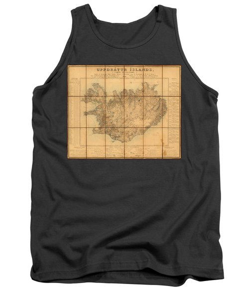 Map Of Iceland 1849 Tank Top by Andrew Fare