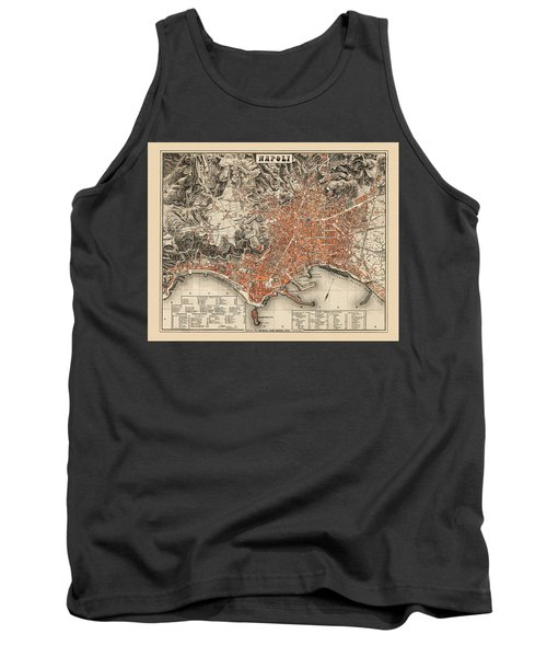 Map Of Naples 1860 Tank Top by Andrew Fare
