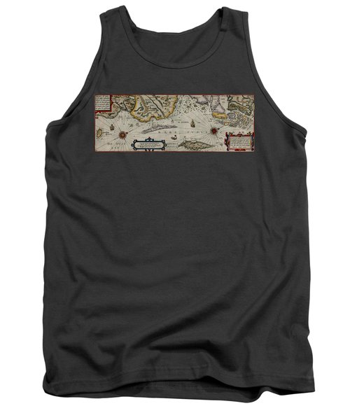 Map Of Sweden 1606 Tank Top by Andrew Fare