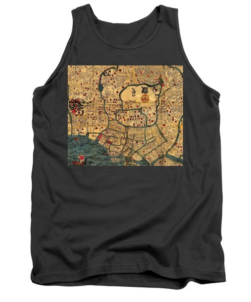 Map Of Tokyo 1845 Tank Top by Andrew Fare