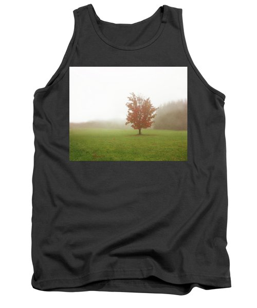 Tank Top featuring the photograph Maple Tree In Fog With Fall Colors  by Brooke T Ryan