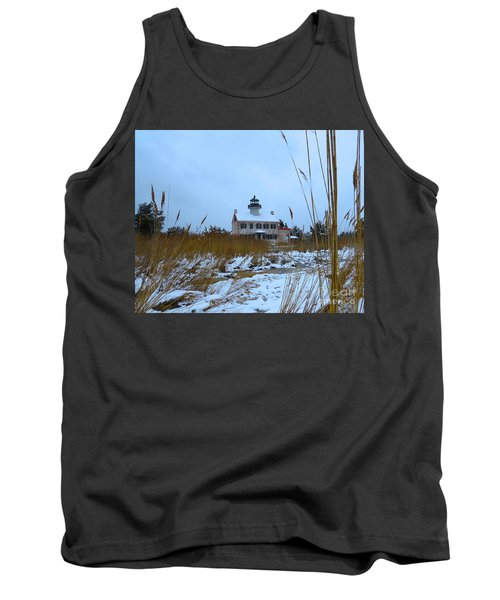 March Snow At East Point Lighthouse Tank Top by Nancy Patterson