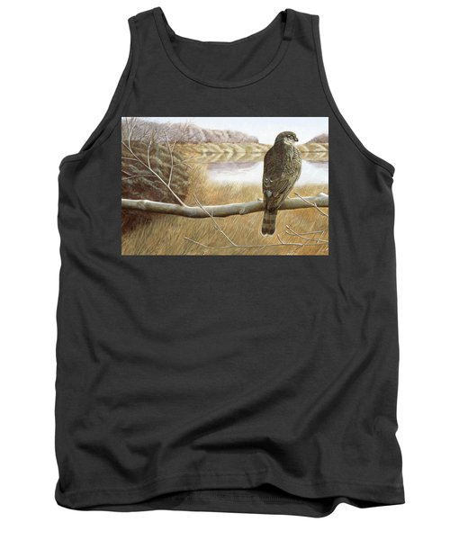 Tank Top featuring the painting Marsh Hawk by Laurie Stewart